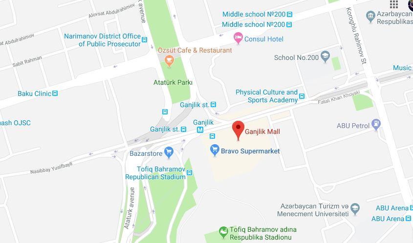نقشه مرکز خرید گنجلیک